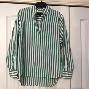 J Crew banded collar stripe popover shirt, NWT
